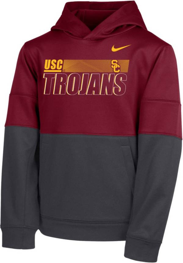 Nike Youth USC Trojans Cardinal Therma Color Block Pullover Hoodie product image