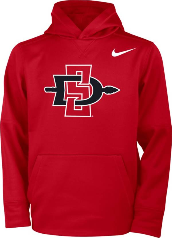 Nike Youth San Diego State Aztecs Scarlet Therma Basketball Hoodie product image
