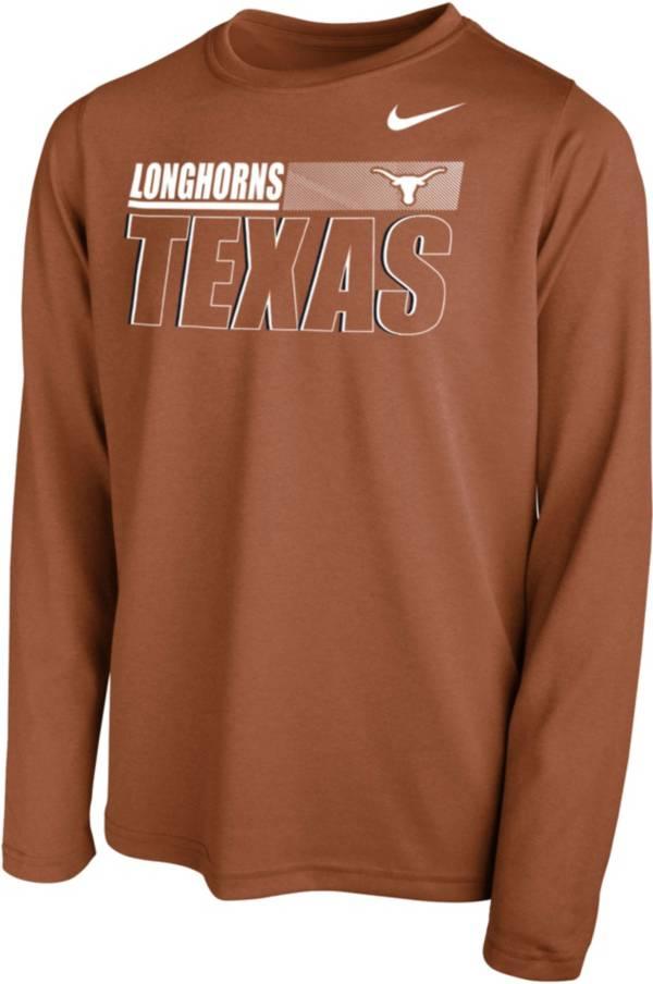 Nike Youth Texas Longhorns Burnt Orange Legend Long Sleeve Performance T-Shirt product image