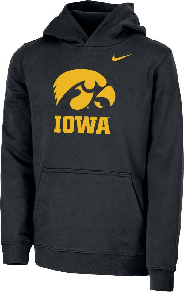 Nike Youth Iowa Hawkeyes Club Fleece Pullover Black Hoodie product image