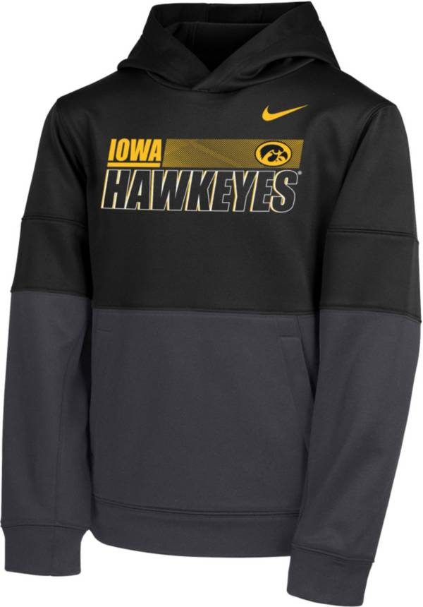 Nike Youth Iowa Hawkeyes Therma Color Block Pullover Black Hoodie product image