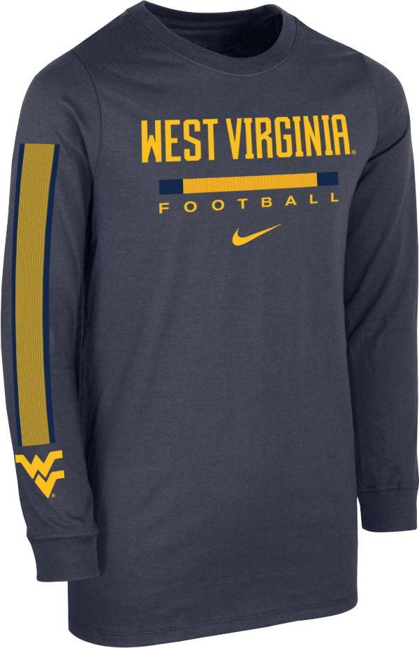 Nike Youth West Virginia Mountaineers Blue Core Long Sleeve Cotton Football T-Shirt product image