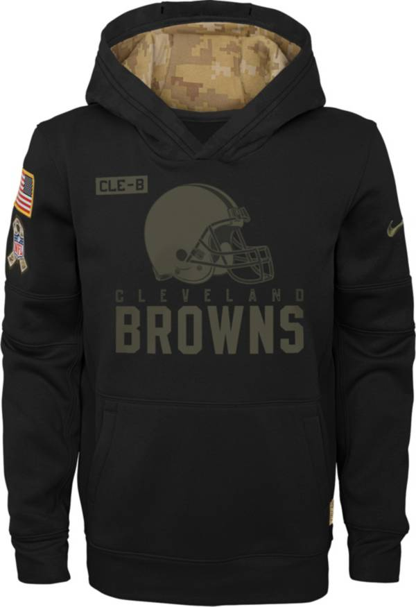 Nike Youth Salute to Service Cleveland Browns Black Therma-FIT Pullover Hoodie product image