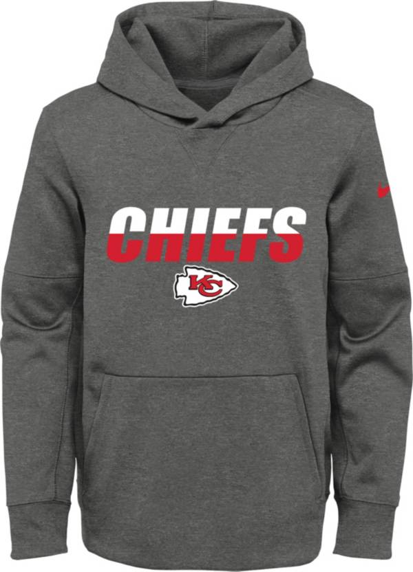 Nike Youth Kansas City Chiefs Grey Thermal Split Pullover Hoodie product image