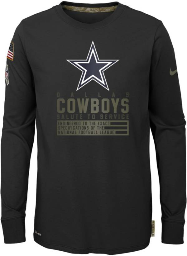 Nike Youth Salute to Service Dallas Cowboys Black Long Sleeve Shirt product image