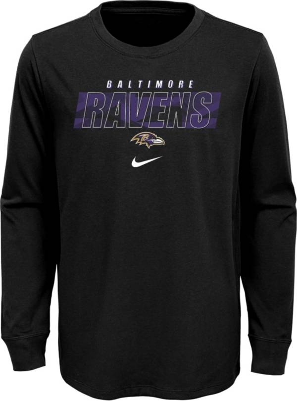 NFL Team Apparel Youth Baltimore Ravens Black Cotton Long Sleeve T-Shirt product image