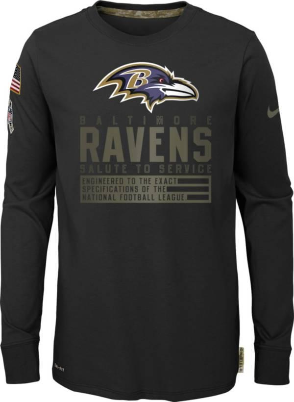 Nike Youth Salute to Service Baltimore Ravens Black Long Sleeve Shirt product image