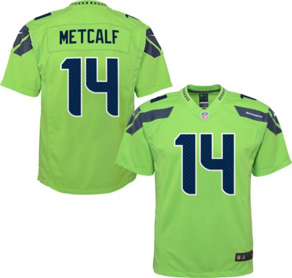 Nike Youth Seattle Seahawks D.K. Metcalf #14 Turbo Green Game Jersey product image