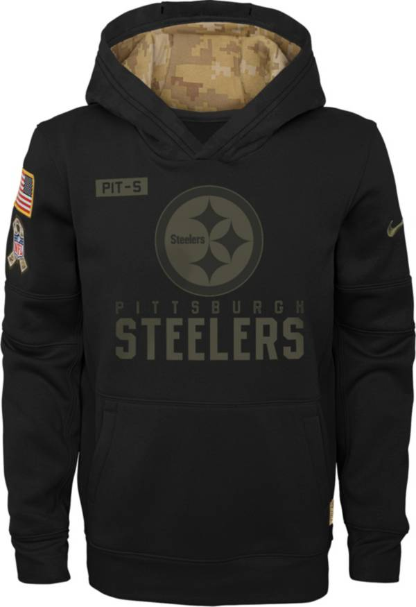 Nike Youth Salute to Service Pittsburgh Steelers Black Therma-FIT Pullover Hoodie product image