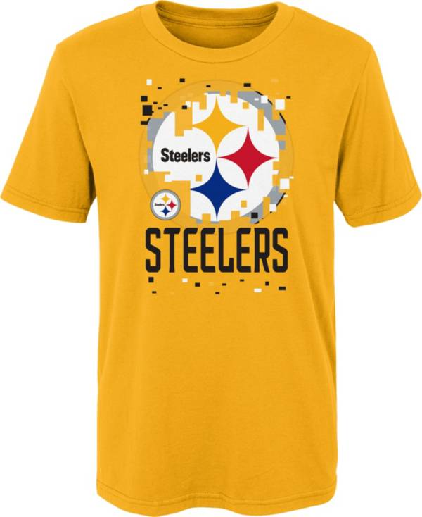 NFL Team Apparel Youth 4-7 Pittsburgh Steelers Gold Zoom T-Shirt product image