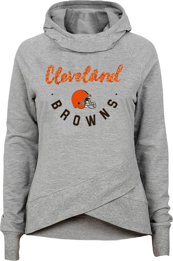 NFL Team Apparel Girls' Cleveland Browns Charge Glitter Grey Hoodie product image