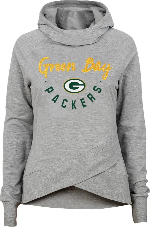 NFL Team Apparel Girls' Green Bay Packers Charge Glitter Grey Hoodie product image