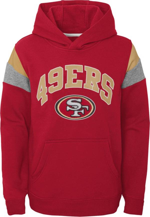 NFL Team Apparel Youth San Francisco 49ers Retro Color Block Pullover Hoodie product image