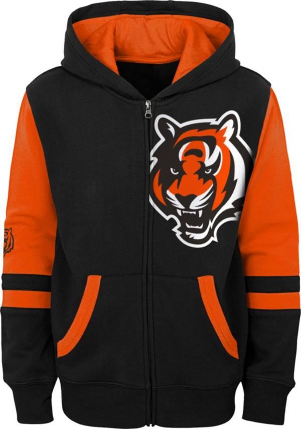 NFL Team Apparel Youth Cincinnati Bengals Color Block Full-Zip Hoodie product image