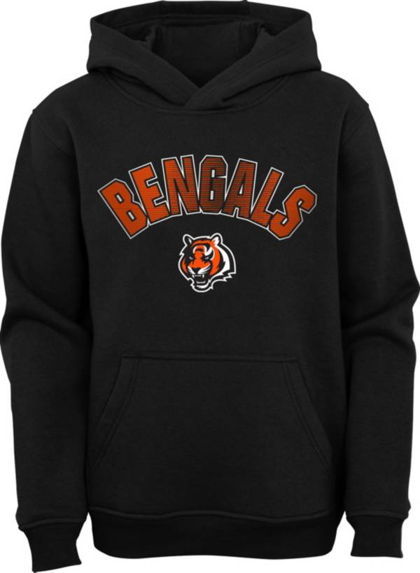NFL Team Apparel Youth Cincinnati Bengals Black Defense Pullover Gaiter Hoodie product image