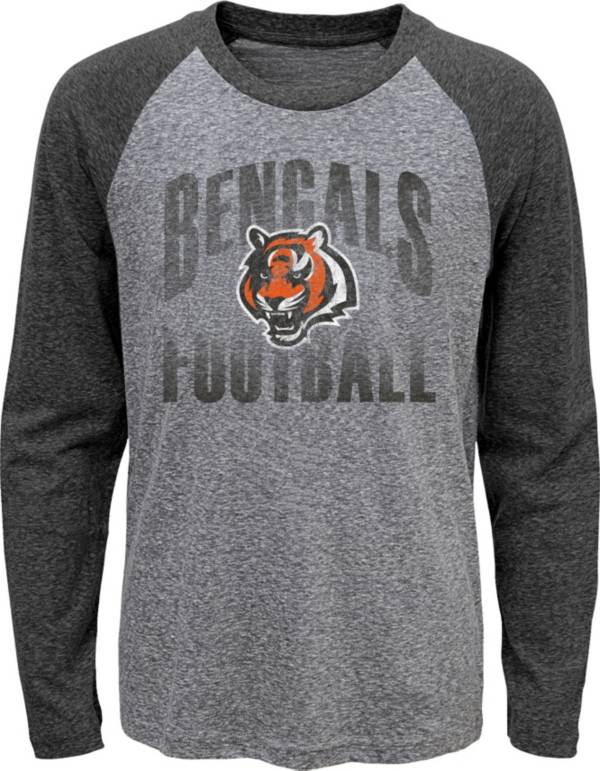 NFL Team Apparel Youth Cincinnati Bengals 'Go For It' Tri-Blend Grey Long Sleeve Shirt product image