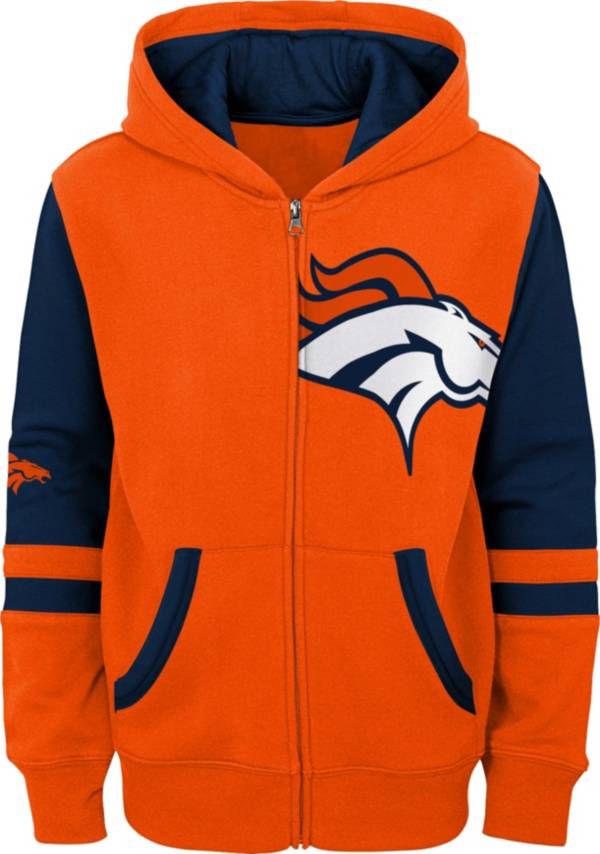 NFL Team Apparel Youth Denver Broncos Color Block Full-Zip Hoodie product image