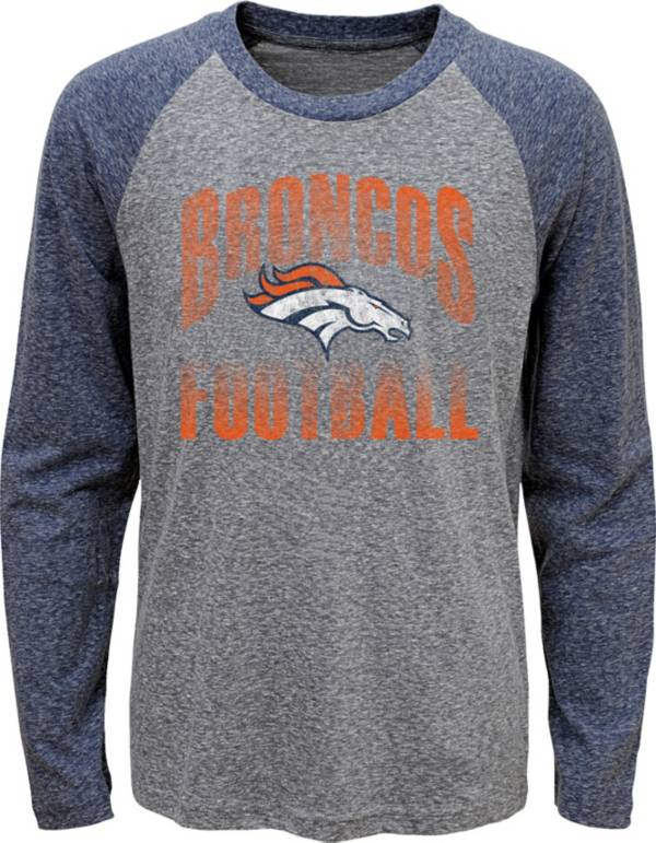 NFL Team Apparel Youth Denver Broncos 'Go For It' Tri-Blend Grey Long Sleeve Shirt product image