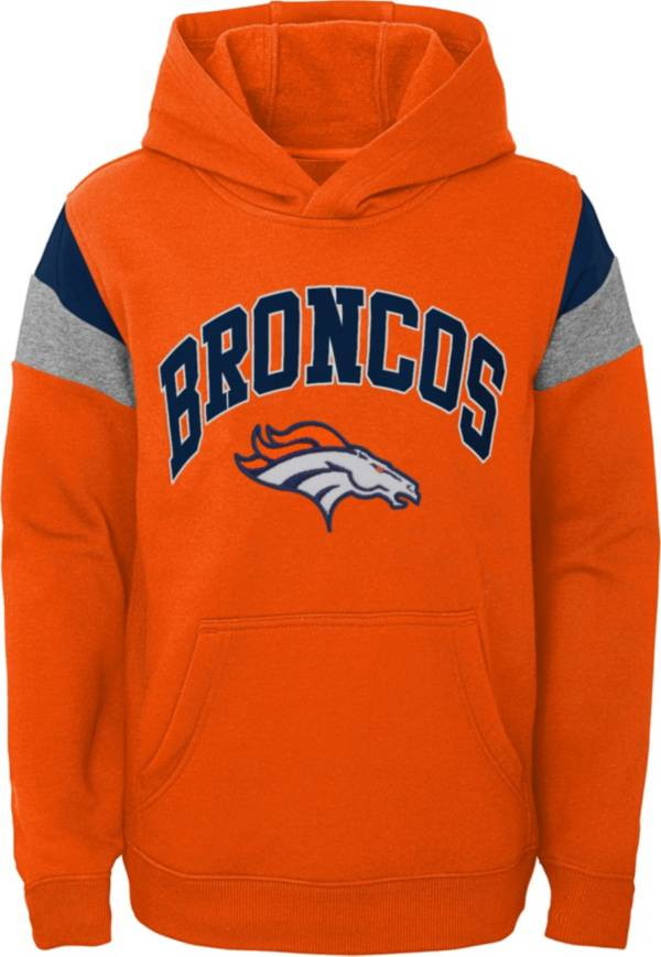 NFL Team Apparel Youth Denver Broncos Retro Color Block Pullover Hoodie product image
