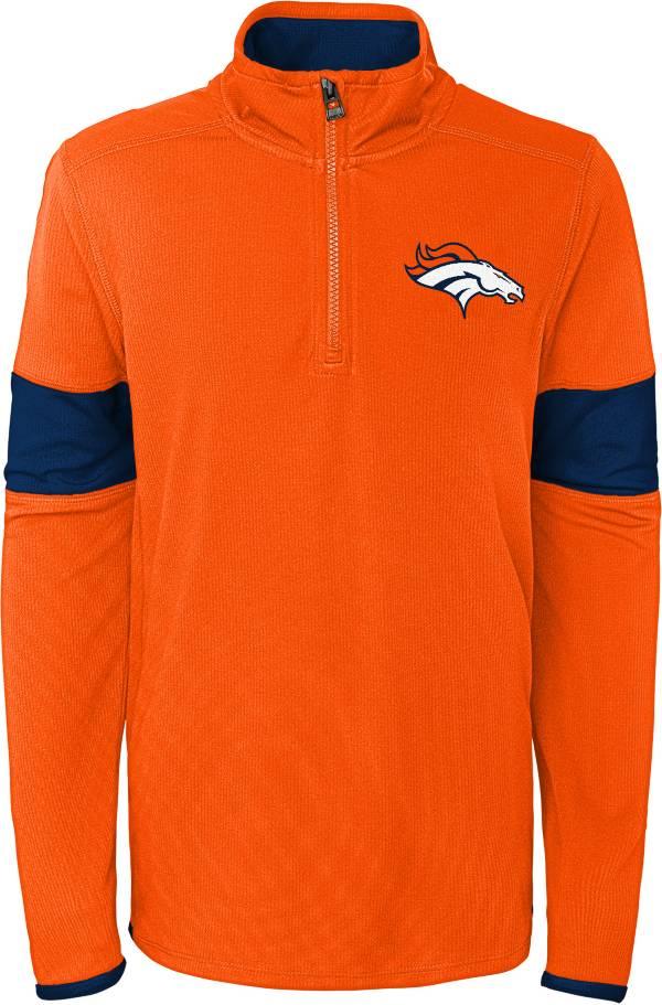NFL Team Apparel Youth Denver Broncos Yard Line Orange Quarter-Zip product image