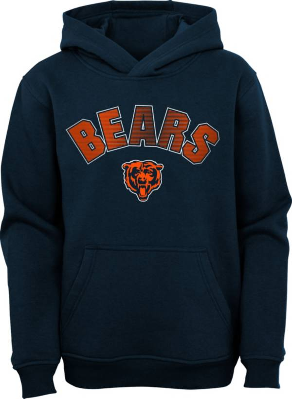NFL Team Apparel Youth Chicago Bears Navy Defense Pullover Gaiter Hoodie product image