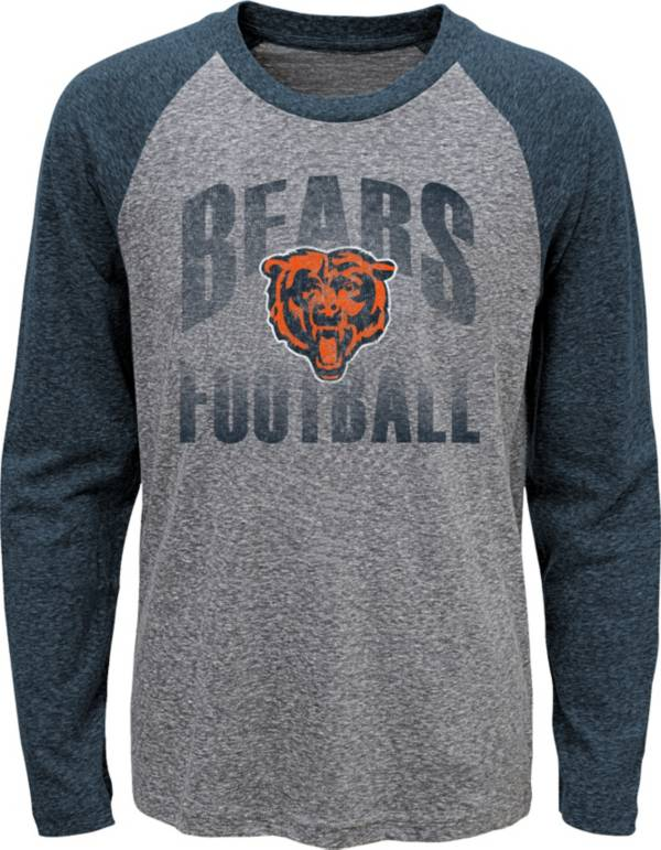 NFL Team Apparel Youth Chicago Bears 'Go For It' Tri-Blend Grey Long Sleeve Shirt product image