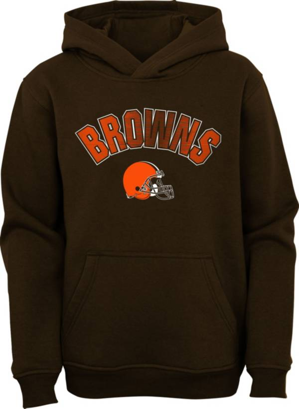 NFL Team Apparel Youth Cleveland Browns Brown Defense Pullover Gaiter Hoodie product image