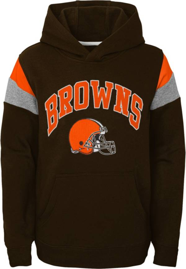 NFL Team Apparel Youth Cleveland Browns Retro Color Block Pullover Hoodie product image