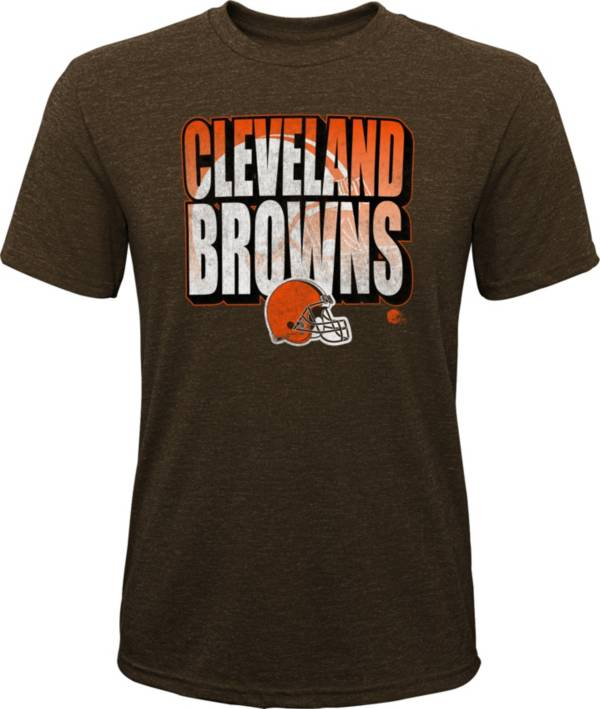 NFL Team Apparel Youth Cleveland Browns Stack Tri-Blend Brown T-Shirt product image