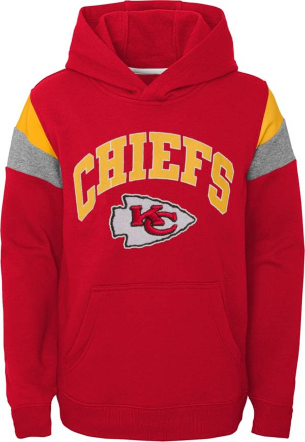 NFL Team Apparel Youth Kansas City Chiefs Retro Color Block Pullover Hoodie product image