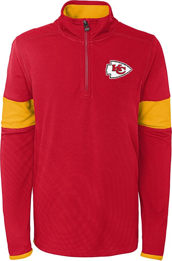 NFL Team Apparel Youth Kansas City Chiefs Yard Line Red Quarter-Zip product image