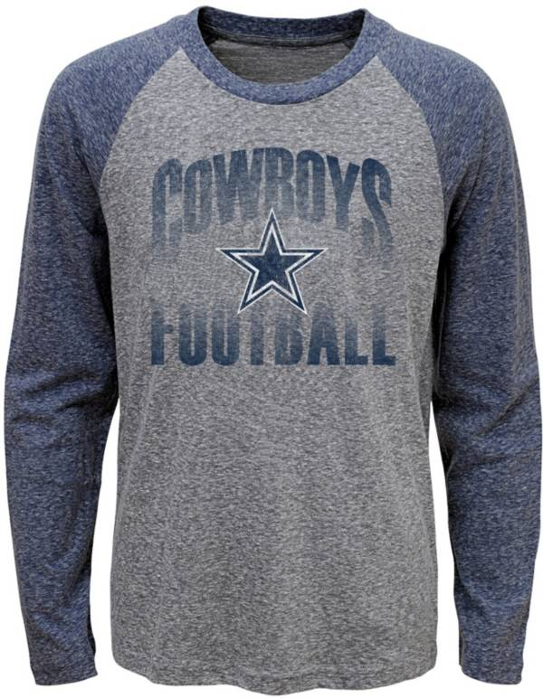 Dallas Cowboys Merchandising Youth Grey/Navy Go 4 It Tri-Blend Long Sleeve T-Shirt product image