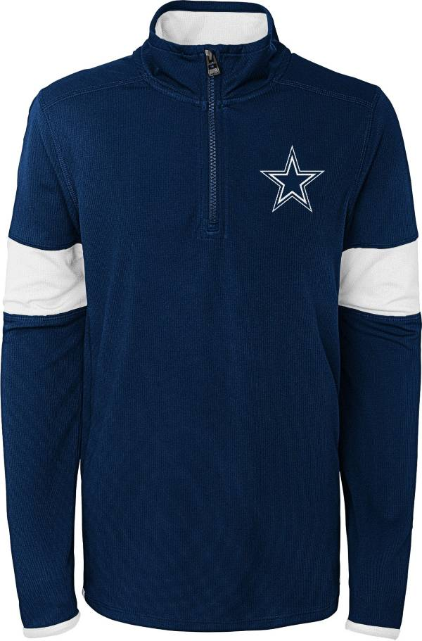 Dallas Cowboys Merchandising Youth Navy Yard Line Quarter-Zip Shirt product image