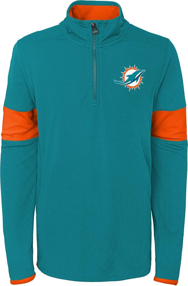 NFL Team Apparel Youth Miami Dolphins Yard Line Aqua Quarter-Zip product image