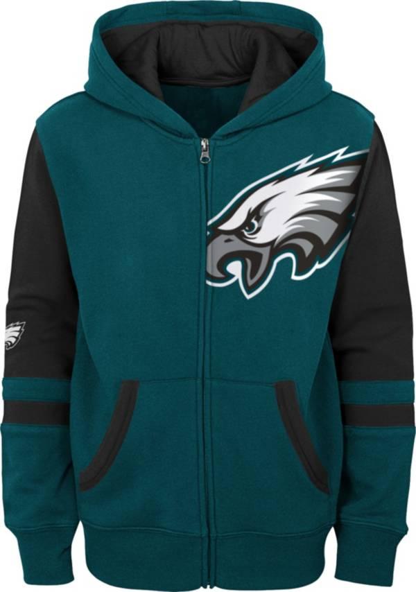 NFL Team Apparel Youth Philadelphia Eagles Color Block Full-Zip Hoodie product image