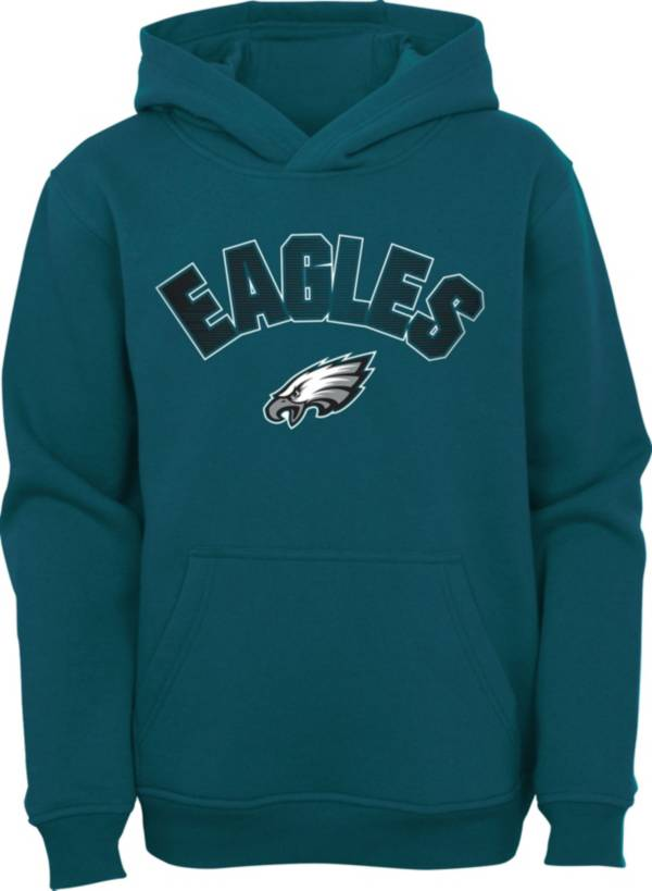 NFL Team Apparel Youth Philadelphia Eagles Green Defense Pullover Gaiter Hoodie product image