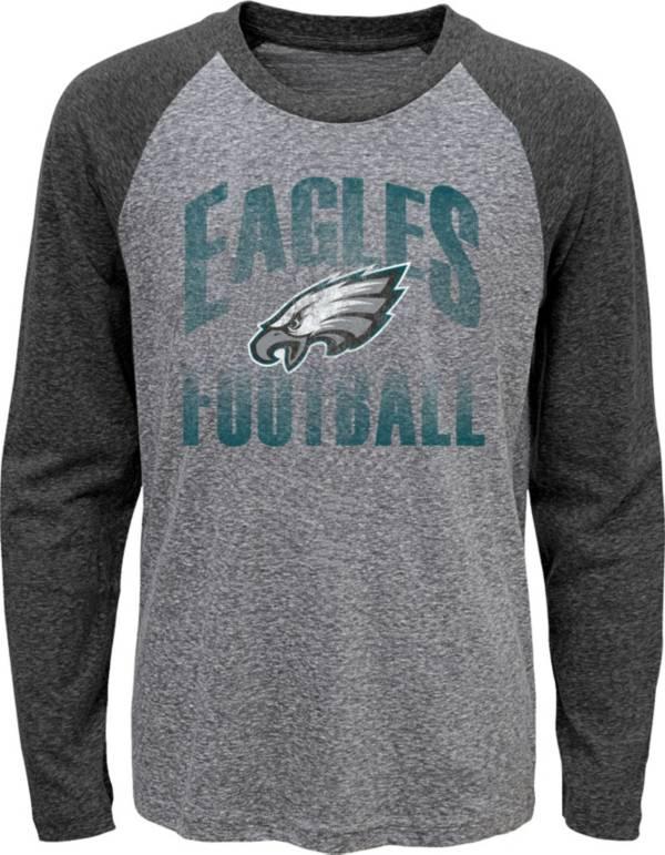 NFL Team Apparel Youth Philadelphia Eagles 'Go For It' Tri-Blend Grey Long Sleeve Shirt product image