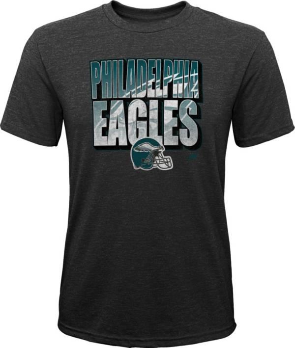 NFL Team Apparel Youth Philadelphia Eagles Stack Tri-Blend Black T-Shirt product image