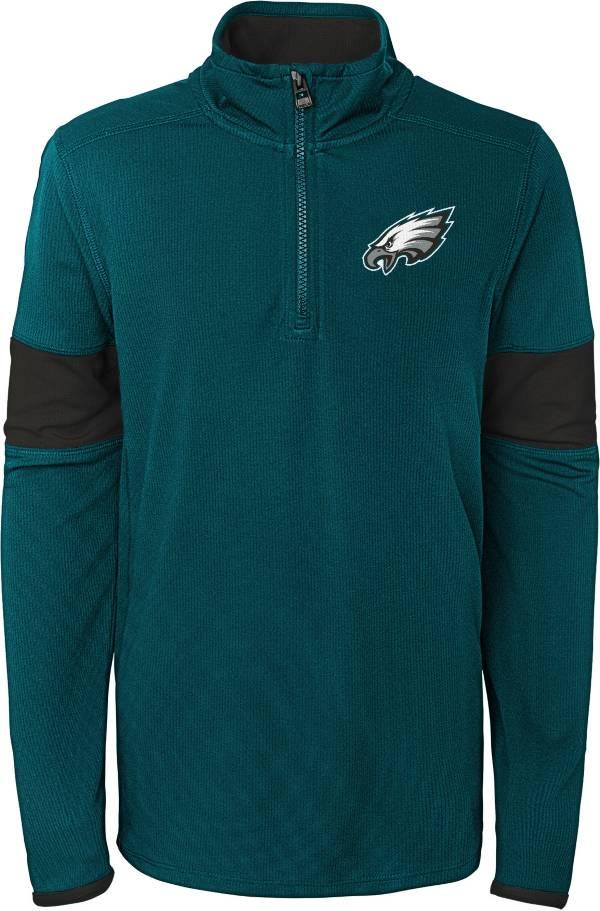 NFL Team Apparel Youth Philadelphia Eagles Yard Line Green Quarter-Zip product image