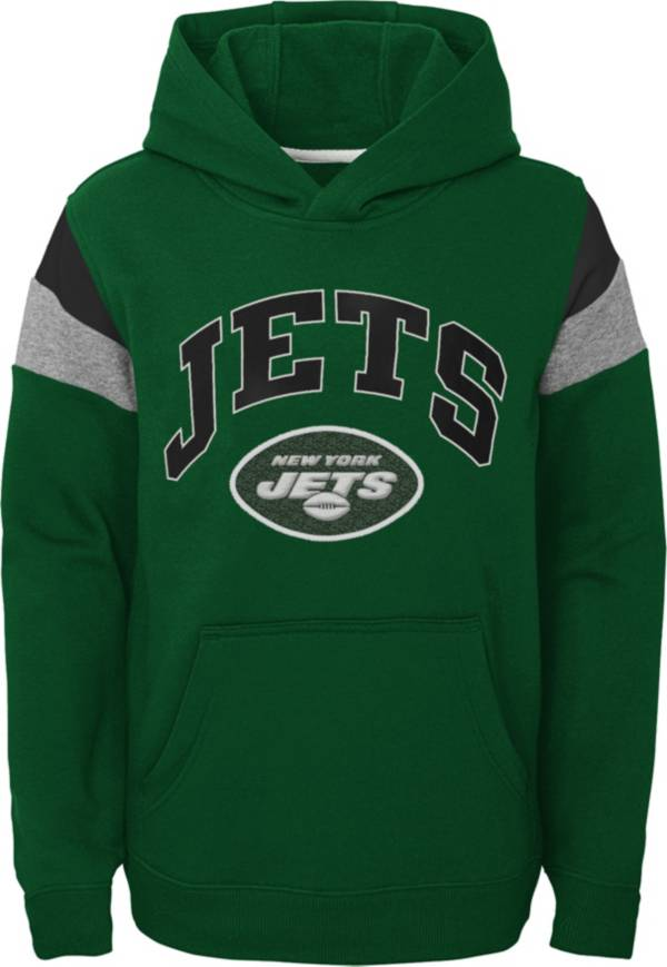 NFL Team Apparel Youth New York Jets Retro Color Block Pullover Hoodie product image