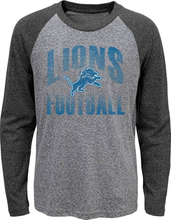 NFL Team Apparel Youth Detroit Lions 'Go For It' Tri-Blend Grey Long Sleeve Shirt product image