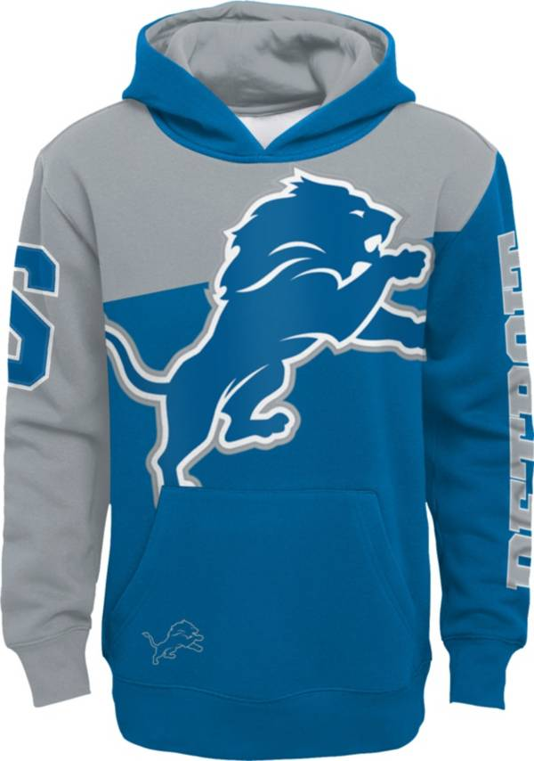 NFL Team Apparel Youth Detroit Lions QB Sneak Pullover Hoodie product image
