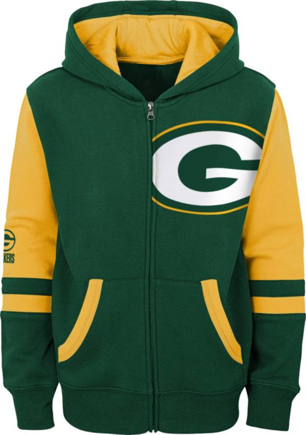 NFL Team Apparel Youth Green Bay Packers Color Block Full-Zip Hoodie product image