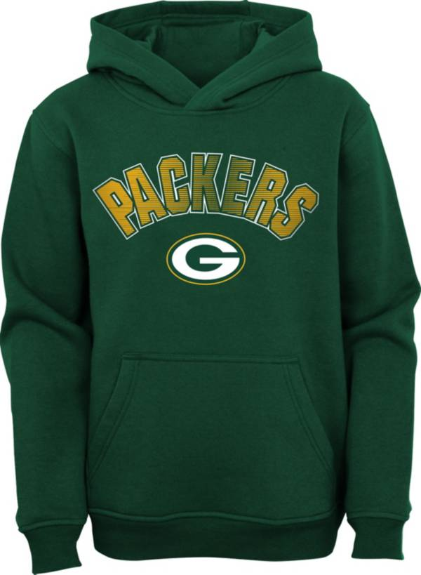 NFL Team Apparel Youth Green Bay Packers Green Defense Pullover Gaiter Hoodie product image