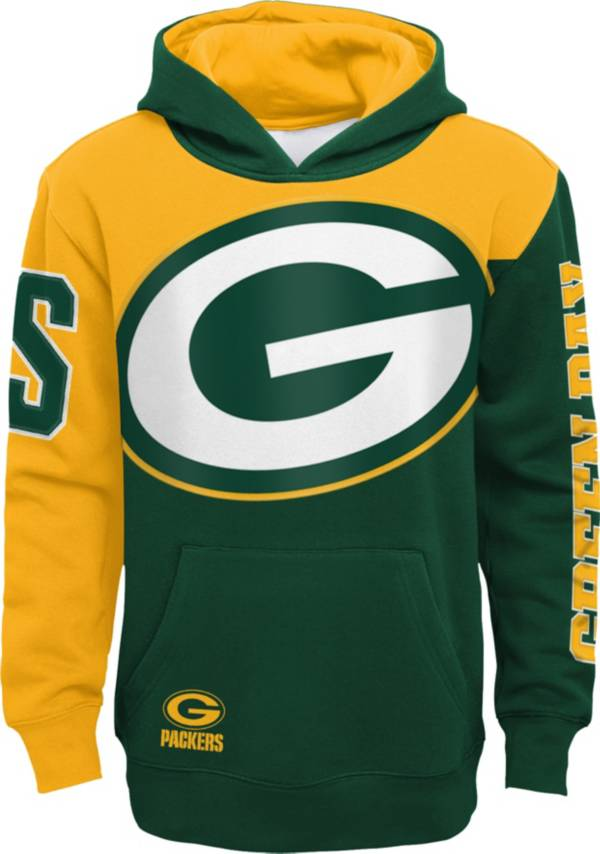 NFL Team Apparel Youth Green Bay Packers QB Sneak Pullover Hoodie product image