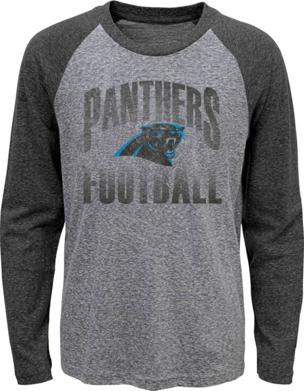 NFL Team Apparel Youth Carolina Panthers 'Go For It' Tri-Blend Grey Long Sleeve Shirt product image