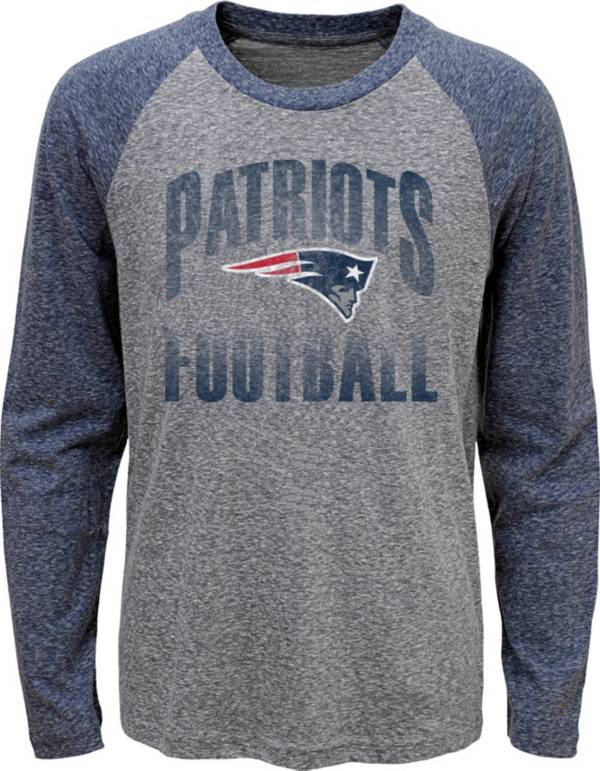 NFL Team Apparel Youth New England Patriots 'Go For It' Tri-Blend Grey Long Sleeve Shirt product image