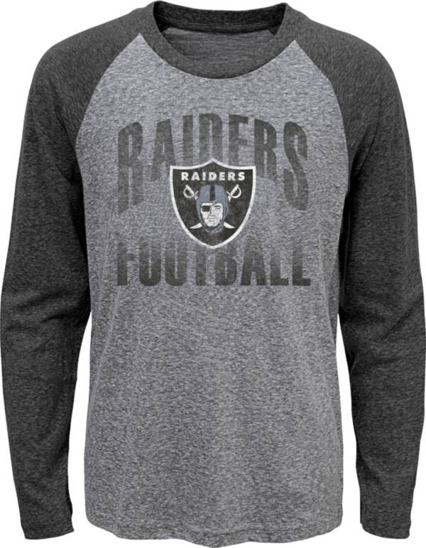 NFL Team Apparel Youth Las Vegas Raiders 'Go For It' Tri-Blend Grey Long Sleeve Shirt product image