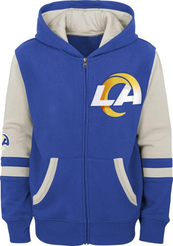 NFL Team Apparel Youth Los Angeles Rams Color Block Full-Zip Hoodie product image