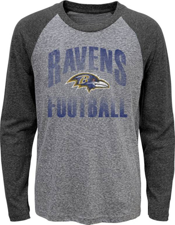 NFL Team Apparel Youth Baltimore Ravens 'Go For It' Tri-Blend Grey Long Sleeve Shirt product image